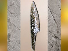 D'après une pointe à cran, silex taillé, vers 20 000-18 000 ans avjc, Solutréen, paléolitique supérieur. (Marsailly/Blogostelle)