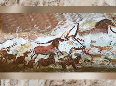D'après les Troupeaux de la Grottes de Lascaux, vers 18 000 ans avjc, Dordogne, France, Magdalénien, paléolithique supérieur. (Marsailly/Blogostelle)