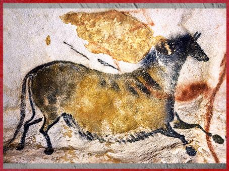 D'après un cheval, peinture rupestre, grotte de Lascaux, vers 18 000 -10 000 avjc, magdalénien, Dordogne, paléolithique supérieur. (Marsailly/Blogostelle)
