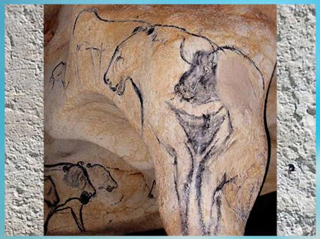 D'après un symbole féminin et bison, grotte Chauvet, Pont d'Arc. Ardèche, 36 000 ans avjc, France, paléolithique supérieur. (Marsailly/Blogostelle)