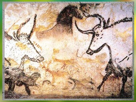 D'après des taureaux, peintures rupestres, grotte de Lascaux, vers 18 000 -10 000 avjc, magdalénien, Dordogne, paléolithique supérieur. (Marsailly/Blogostelle)