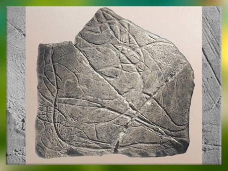 D'après une femme enceinte, plaquette gravée, calcaire, grotte de La Marche, Charentes, France, paléolithique. (Marsailly/Blogostelle)