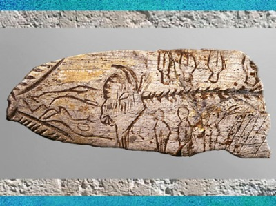 D'après une pendeloque bison, humains et signes, os, vers 18 000 -10 000 ans avjc, Dordogne, magdalénien, paléolithique. (Marsailly/Blogostelle)