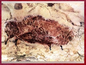 D'après un bison peint, grotte de Lascaux, Dordogne, vers 18 000 -10 000 ans avjc, Magdalénien, paléolithique supérieur. (Marsailly/Blogostelle)