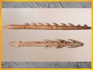 D'après des harpons, bois de renne, Mas-d'Azil, Ariège, Magdalénien, 18000-10000 avjc, France, Paléolithique supérieur. (Marsailly/Blogostelle)