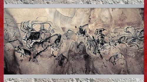 D'après des rhinocéros et fauves, grotte Chauvet, art aurignacien, vers 36 000 ans avjc, Ardèche, France, début paléolithique supérieur. (Marsailly/Blogostelle)