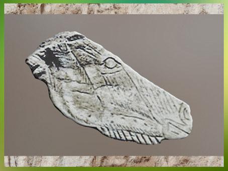 D'après une tête de cheval, gravure sur os, Isturitz, Pyrénées, Magdalénien, 18000-10000 avjc, France, Paléolithique supérieur. (Marsailly/Blogostelle)