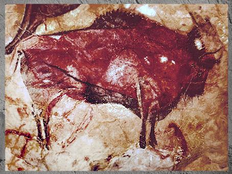 D'après un grand bison, grotte d'Altamira, peinture rouge, solutréen et magdalénien, Espagne, paléolithique supérieur. (Marsailly/Blogostelle)