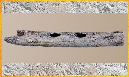 D'après une flûte, os, vers 18000-10000 avjc, Magdalénien, Isturitz, Pyrénées, France, paléolithique supérieur. (Marsailly/Blogostelle)