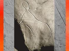 D'après une figure féminine, gravure, grotte de Cussac, Dordogne, vers 29500-28000 ans avjc, Gravettien, France, Paléolithique. (Marsailly/Blogostelle)
