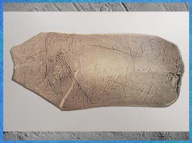 D'après un mammouth gravure sur ivoire, Magdalénien, 18000-10000 avjc, France, Paléolithique supérieur. (Marsailly/Blogostelle)