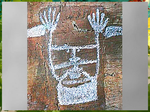 D'après la stèle du Chef de tribu dit Le Sorcier, art rupestre, mont Bego, Vallée des Merveilles, fin IIIe-début IIe millénaire avjc, Alpes Maritimes, France, âge du Cuivre et du Bronze. (Marsailly/Blogostelle)
