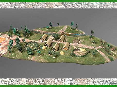 D'après une maquette, village de maisons en torchis, bois et chaume, Yvelines, France, néolithique. (Marsailly/Blogostelle)