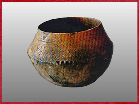 D'après une céramique carénée, motifs chevrons, chalcolithique, IIIe millénaire avjc, âge du cuivre. (Marsailly/Blogostelle)
