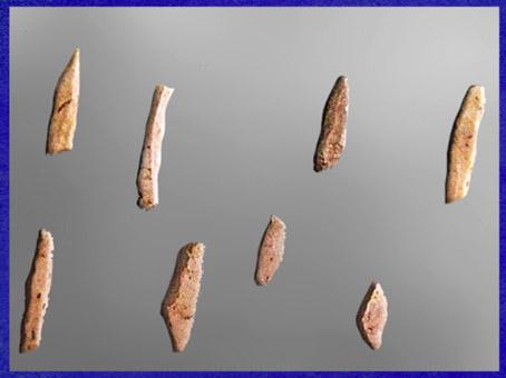 D'après des microlithes aziliens, petits silex taillés, mésolithique. (Marsailly/Blogostelle)