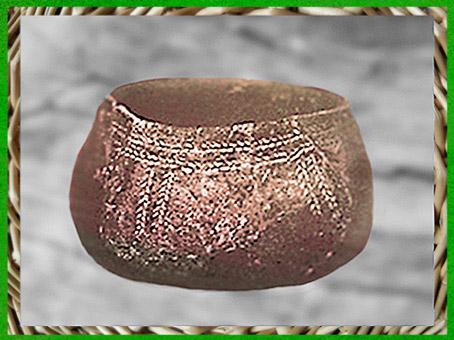 D'après une poterie, décor de chevrons, terre cuite, céramique rubané néolithique. (Marsailly/Blogostelle)