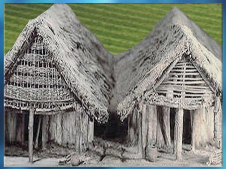 D'après des maquettes de maisons type Charavines, Rhône-Alpes, France, néolithique. (Marsailly/Blogostelle)