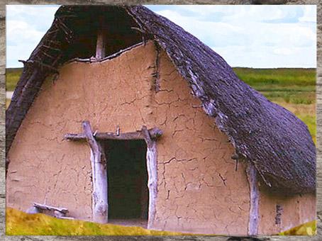 D'après une reconstitution d'une maison de la culture du rubané, néolithique. (Marsailly/Blogostelle)