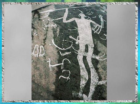 D'après Le dieu à la lance, art rupestre scandinave, Tanum, Suède, âge du Bronze. (Marsailly/Blogostelle)