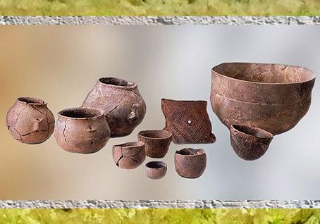 D'après des poteries, céramique de type chasséen, terre cuite, IVe millénaire avjc, Bretagne, France, néolithique, (Marsailly/Blogostelle)