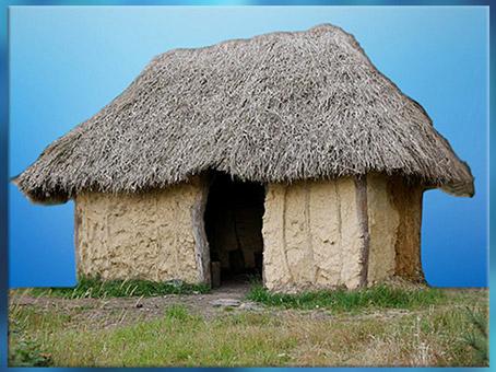 D'après une maison en torchis, bois et chaume, Saint-Just, Bretagne, France, néolithique. (Marsailly/Blogostelle)