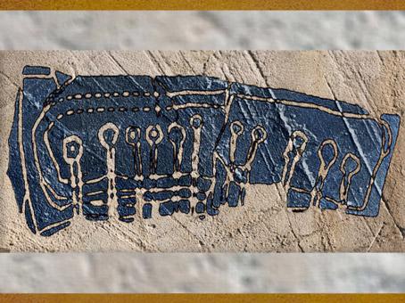 D'après le plan des hypogées de Barnenez, vers 4000 ans avjc, Plouezoc'h, Finistère, Bretagne, France, néolithique.(Marsailly/Blogostelle)