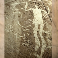 D'après un guerrier ou un dieu armé d'une lance, art rupestre,Suède, âge du Bronze. (Marsailly/Blogostelle)
