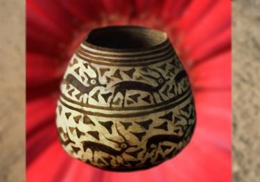 D'après un vase, à frisesde gazelles, terre cuite peinte, poterie de Mehrgarh, vers 2800 avjc, Vallée de l'Indus,Pakistan actuel,période Néolithique,Inde ancienne. (Marsailly/Blogostelle)