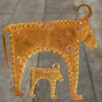 D'après des bovidés découpés dans la feuille d'or, nécropole de Varna, Bulgarie, Bulgarie, âge du Bronze. (Marsailly/Blogostelle)