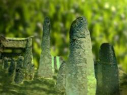 D'après une vue de mégalithes funéraires en Indonésie. (Marsailly/Blogostelle.)