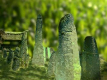 D'après une vue de mégalithes funéraires,Indonésie. (Marsailly/Blogostelle)