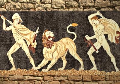 D'après La Chasse au lion, mosaïque,Pella, maison de Dionysos, IVe siècle avjc, Grèce antique. (Marsailly/Blogostelle)