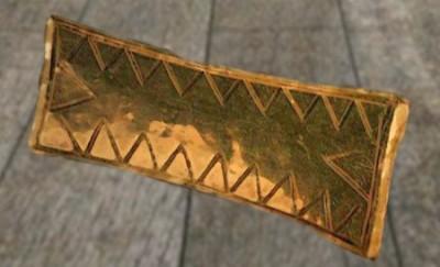 D'après une pendeloque en or, tumulus de La Motta, vers 2000-1600 avjc, Côtes d'Armor, France, âge du Bronze. (Marsailly/Blogostelle)