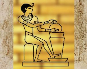 D'après l'iconographie du dieu égyptien Ptah, qui crée le monde, les dieux et les humains, protecteur des artisans et des orfèvres, Égypte ancienne (Marsailly/Blogostelle)