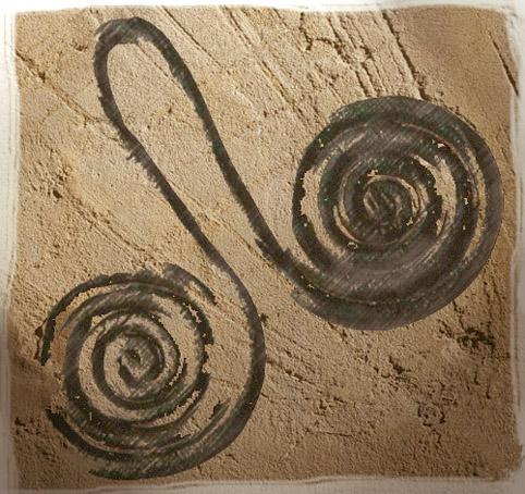 D'après un pendentif en cuivre, à double spirale, IIIe-IIe millénaires avjc, Chalcolithique-âge du Bronze. (Marsailly/Blogostelle)