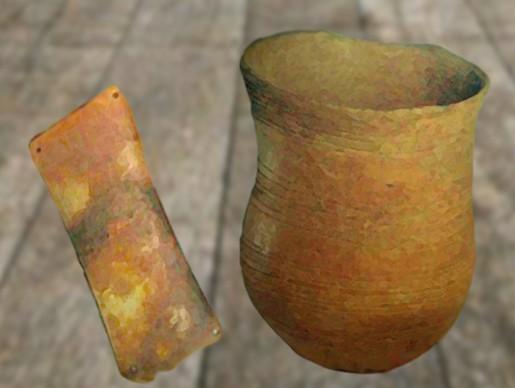 D'après un vase en terre cuite et un brassard d'archer, culture campaniforme,vers 2200 ans avjc-1200 avjc, âge du Bronze. (Marsailly/Blogostelle)