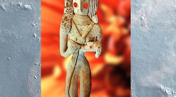 D'après une maternité, statuette en terre cuite, Mehrgarh, vers 2800-2600 avjc, civilisation de l'Indus,Pakistan actuel,période Néolithique,Inde ancienne. (Marsailly/Blogostelle)
