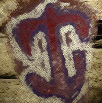 D'après une pierre peinte, culture Dogon, qui représente Yasigui, la jumelle mythologique d'Ogo, Afrique. (Marsailly/Blogostelle)