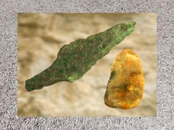 D'après une pointe de lance en bronze et un silex de la culture campaniforme, âge du Bronze. (Marsailly/Blogostelle)