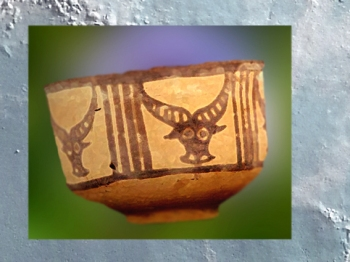 D'après une poterie de Mehrgarh, vers la fin du IVe millénaire avjc, période Néolithique, Inde ancienne. (Marsailly/Blogostelle)