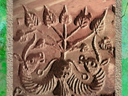 D'après un sceau à deux unicornes et pipal, Mohenjo-Daro, vers 2300 - 1800 avjc, civilisation de l'Indus. (Marsailly/Blogostelle)