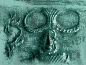 D'après un détail d'un sceau au Yogi, Mohenjo-Daro, vers 2500-1800 avjc, civilisation de l'Indus. (Marsailly/Blogostelle)