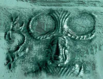 D'après un détail d'un sceau au Yogi, Mohenjo-Daro,vers 2500-1800 avjc, civilisation de l'Indus. (Marsailly/Blogostelle)