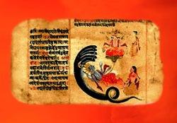 D'après des images du Rig-Veda, le dieu salvateur Vishnu et Brâhma. Plutôt discret à l'époque védique, le bienveillant Vishnu devient une star dans l'Hindouisme au côté de Çiva et Brâhma. (Illustration Marsailly/Blogostelle.)