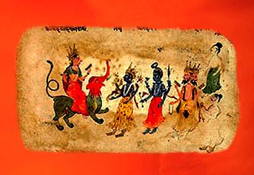 D'après des images du Rig-Veda, Indra sur son éléphant, Rudra-Shiva et Brâhma, XIXe siècle apjc, Inde ancienne. (Marsailly/Blogostelle)