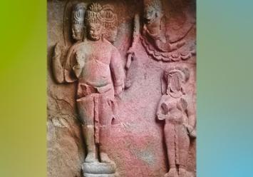 D'après le dieu Brâhma à plusieurs faces, haut relief sculpté, Ellora, VIe siècle apjc - VIIIe siècle apjc, Maharashtra, Inde ancienne. (Marsailly/Blogostelle)