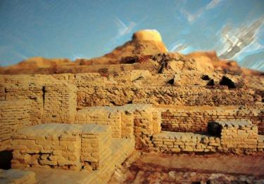 D'après des vues de la ville haute et citadelle de Mohenjo-Daro, entre 2500 ans avjc et 1800 avjc, civilisation de l'Indus,Inde ancienne. (Marsailly/Blogostelle)