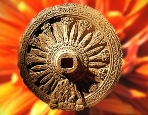 D'après La roue de la Loi bouddhique, appelée aussi Roue du Dharma, art Dvâravatî, vers le VIIIe siècle apjc, Thaïlande. (Marsailly/Blogostelle)