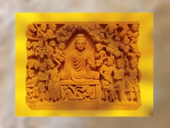 D'après l'Illumination du Buddha, époque Kushâna, fin IIe siècle apjc, Gandhara, Nord, Inde ancienne. (Marsailly/Blogostelle)