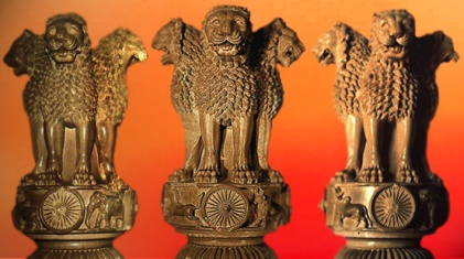 D'après le chapiteau de Sârnâth, IIIe siècle avjc, Bihar, Nord, style Maurya, Inde ancienne. (Marsailly/Blogostelle)